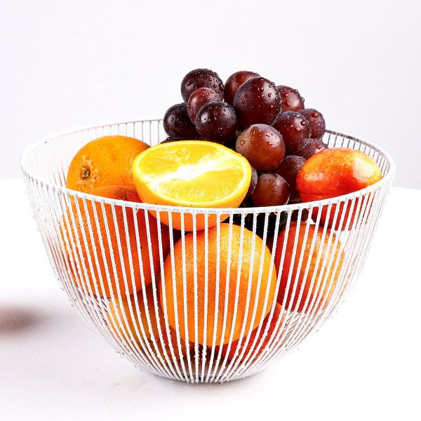 2021 New Metal Fruit Vegetable Storage Bowls Kitchen Baskets white large
