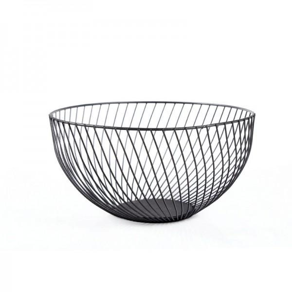 2021 New Metal Fruit Vegetable Storage Bowls Kitchen Baskets Oblique black large