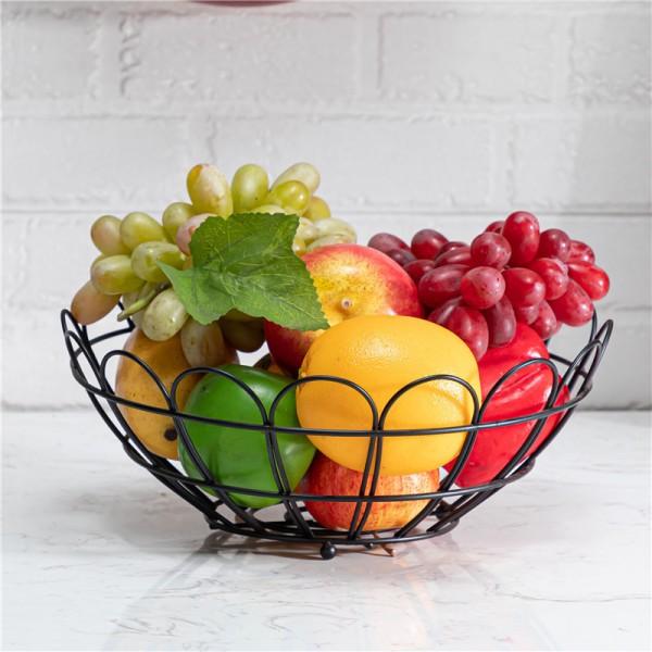 Black petal-shaped fruit basket