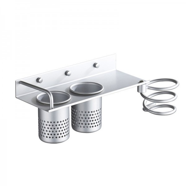 Wall-mounted Hair Dryer Holder Hairdressing shelf with two cups