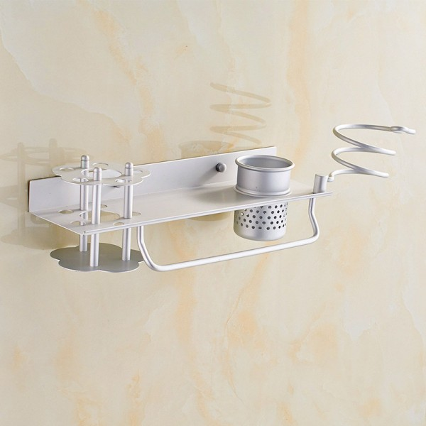 Wall-mounted Hair Dryer Holder Hairdressing shelf with a  toothbrush table