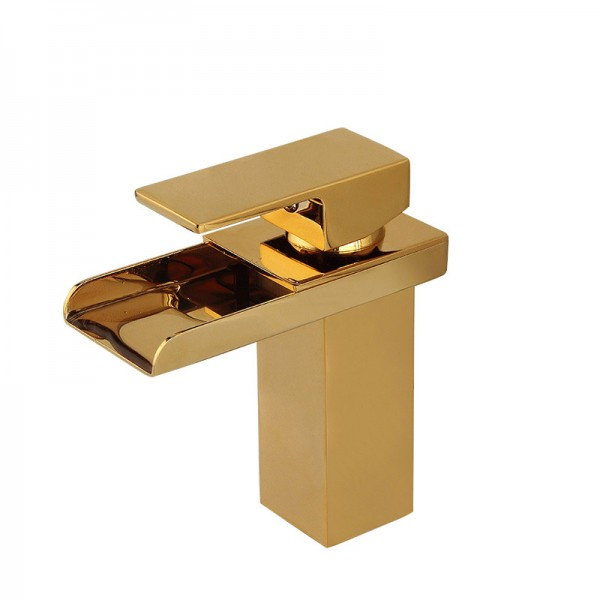 Gold Waterfall 1 lever Contemporary Basin Mono mixer Tap
