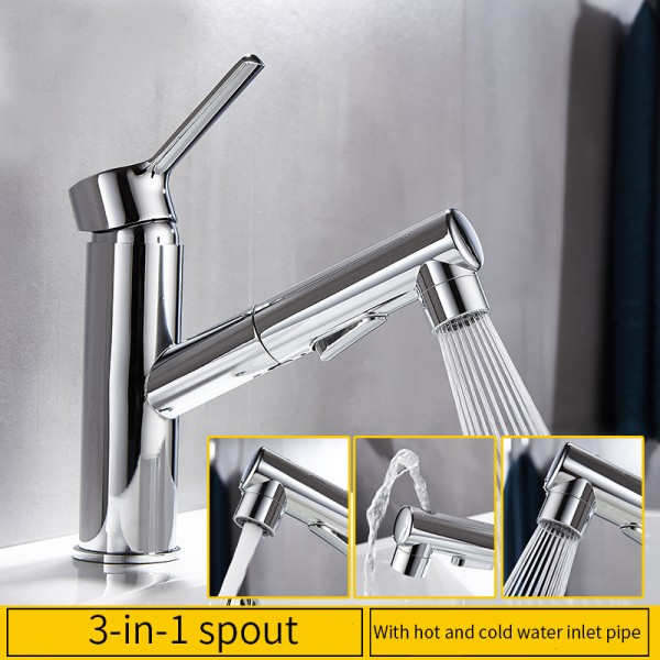 Black/Chrome-plated Pull Out 1 lever Contemporary Basin Mono mixer Tap