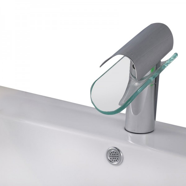 Glass Waterfall 1 lever Contemporary Basin Mono mixer Tap