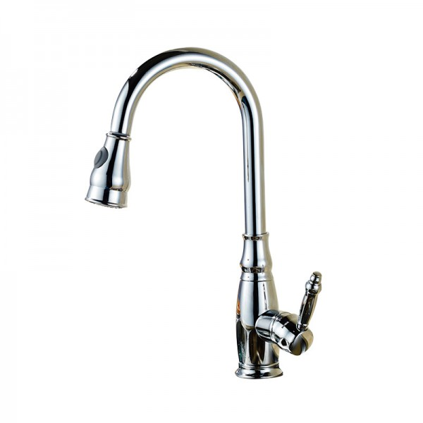 Chrome effect Kitchen Side lever spring neck Brass Mixer tap