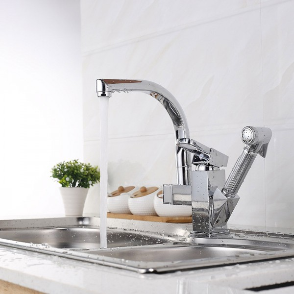 Twin Outlet Chrome effect Kitchen Side lever Brass Mixer tap