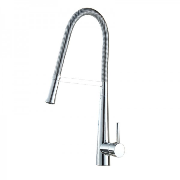 Swan Neck Chrome effect Kitchen Side lever spring neck Brass Mixer tap
