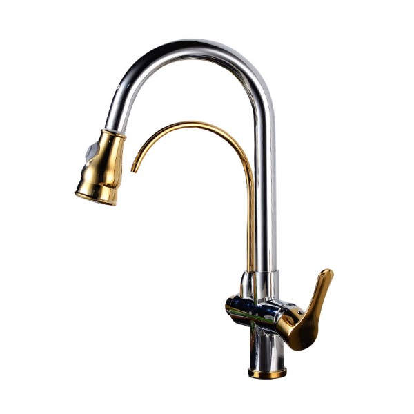 Twin outlet Pull Out Chrome effect Kitchen Side lever Brass Mixer Taps