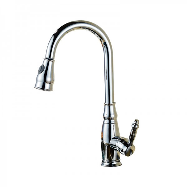 Pull Out Chrome effect Kitchen Side lever Brass Mixer Tap