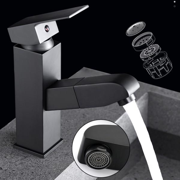 Lazu Black Pull Out 1 lever Contemporary Basin Mono mixer Tap