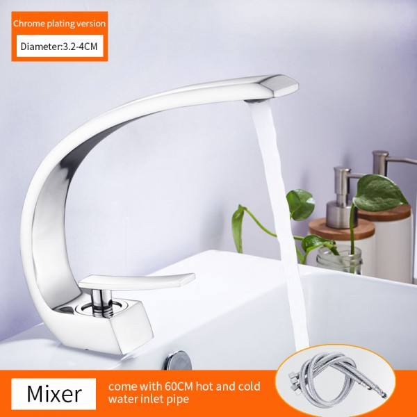 Bathroom Faucet Basin Sink Faucet Single Handle Cold and Hot Mixer Taps Beautiful Curve Design