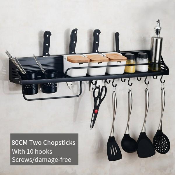 Wall mounted kitchen organizer 2 Utensils Holder knife holder With 10 Hooks /Damage-Free 80cm