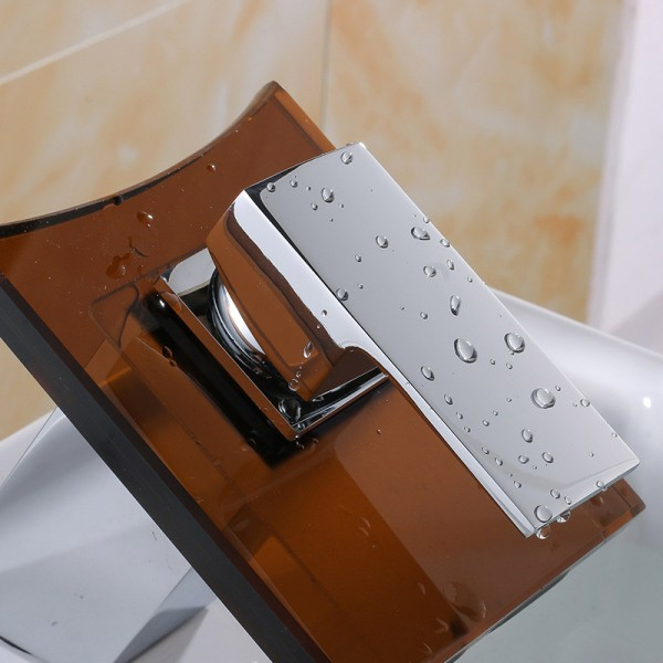 Brown Glass Waterfall 1 lever Contemporary Basin Mono mixer Tap